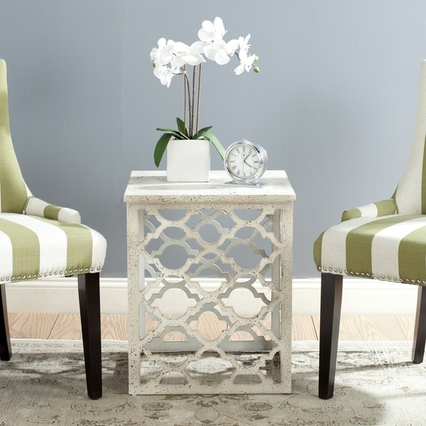 Shop Safavieh Lonny End Table Distressed White Free Shipping