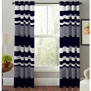 Pointehaven Mariner's Multicolor Cotton Striped Printed Window Curtain Panel Pair