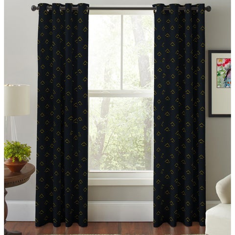 Pointehaven Gold Triangle Cotton Printed Window Curtain Panel Pair