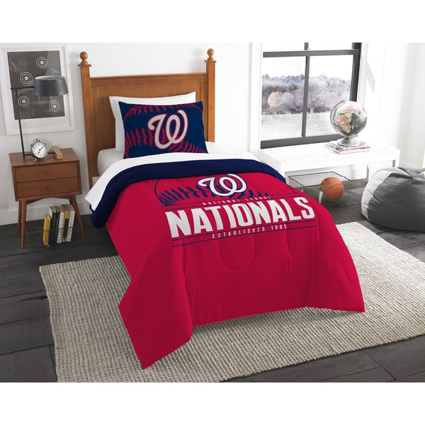 The Northwest Company MLB Washington Nationals Grandslam Blue, Red, and White Twin  2-piece Comforter Set