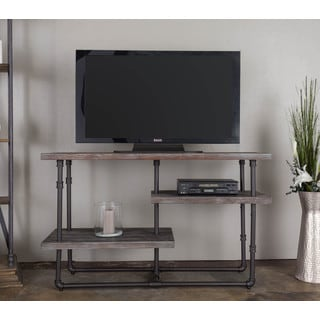 Somette Antique Grey Reclaimed Distressed 3-shelf Media Console