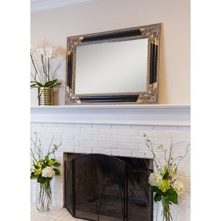 SBC Venetian Black/Gold Wood Rectangle Wall Mirror