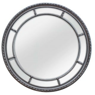 SBC Augusta Antique Silvertone Wood Circular Mirror