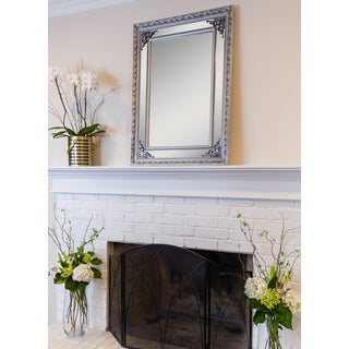 SBC Langley Rectangular Wall Mirror with Antique Silver Wood Frame