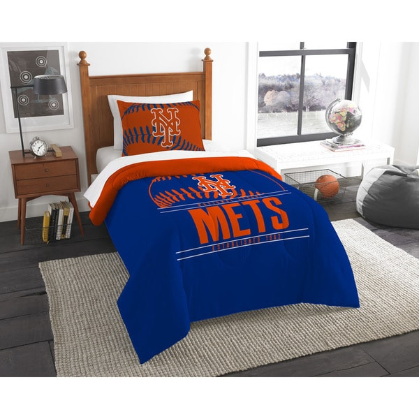 32cd337f The Northwest Company MLB New York Mets Grandslam Orange, Blue, and White  Twin 2-piece Comforter Set