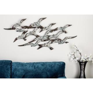 Benzara White and Brown Metal Flock Birds