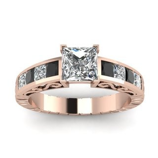 14k Rose Gold 1 1/2ct TDW Black and White Diamond GIA Certified Engagement Ring