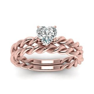 Heart-Shaped Diamond Solitaire (2/5 ct) with 14k Rose Gold 'Twisted Rope' Wedding Ring Set (E-F, VVS1-VVS2)
