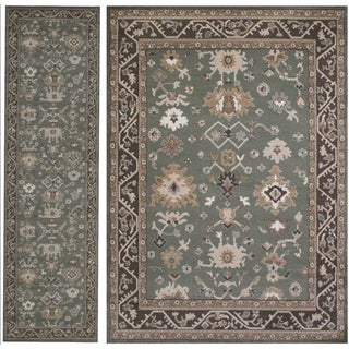 Admire Home Catherine Southwestern 2-piece Green Area Rug Set (5'3 x 7'3, 2'2 x 7'7)
