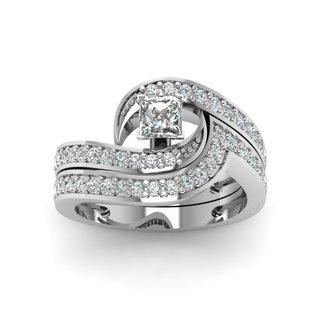 14k White Gold Swirly Engagement Ring with Princess-Cut Diamond (4/5 ct TDW) (E-F, VVS1-VVS2)