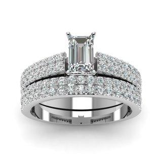 14k White Gold 1 1/5ct TDW White Diamond GIA Certified Double Row Bridal Set (D-E, VVS1-VVS2)