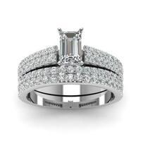 14k White Gold 1 1/5ct TDW White Diamond GIA Certified Double Row Bridal Set