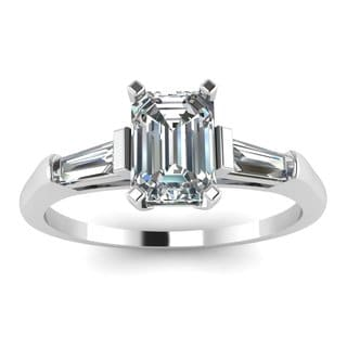 14k White Gold Emerald-Cut Diamond Engagement Ring with Tapered Baguette  Diamonds on Either Side