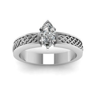 14k White Gold 1/2ct TDW White Diamond Criss-cross GIA Certified Engagement Ring (E-F, SI1-SI2)