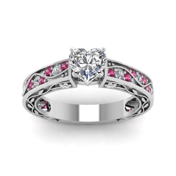 7698c6715 Shop 14k White Gold Engagement Ring (1/2 ct TDW) with Heart-Shaped ...
