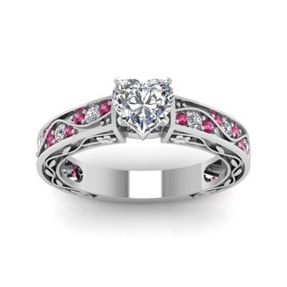 14k White Gold Engagement Ring (1/2 ct TDW) with Heart-Shaped Center Diamond and Pink Sapphires/Diamonds (G-H, VVS1-VVS2)