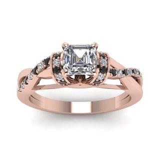 14k Rose Gold Ring (5/8 ct TDW) with Asscher-Cut White Diamond Centerpiece and B/W Diamonds