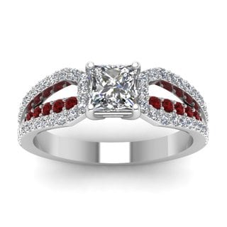 14k White Gold 4/5ct TDW White Diamond and Ruby Bridge GIA Certified Ring