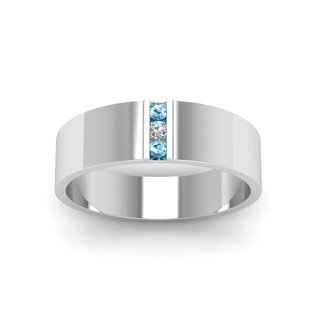 14k White Gold Men's Wedding Band with Channeled 3-Stone Centerpiece (1 Diamond and 2 Blue Topaz)