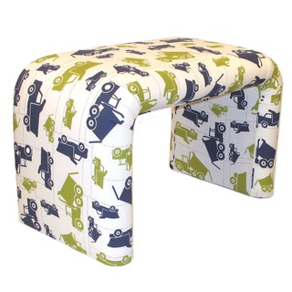 Dozydotes End of Bed Bench in Dump Truck Print Cotton