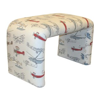 Dozydotes End of Bed Bench in Vintage Airplane Print Cotton