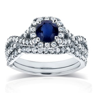 Annello by Kobelli 14k White Gold Sapphire and 3/4ct TDW Diamond Crossover Halo Bridal Set (GH, I1-I2)