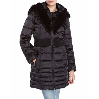 Laundry By Shelli Segal Black Down Cinched Waist Puffer Coat