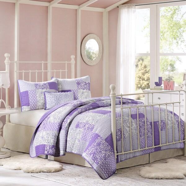 Mi Zone May Lavender Jacquard 4-piece Coverlet Set