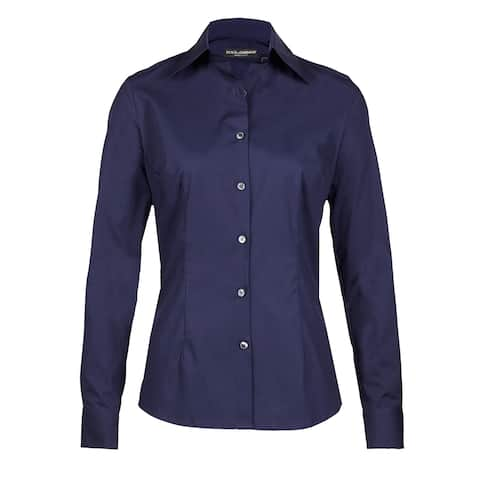 Dolce & Gabbana Women's Button Up Navy Blue Blouse