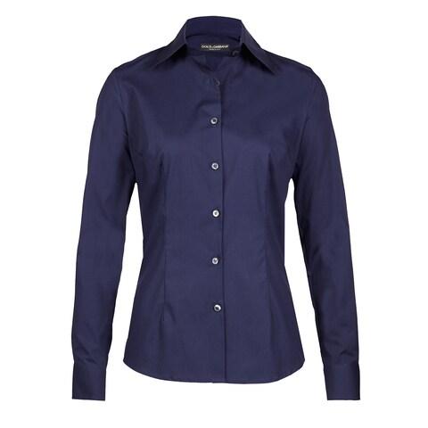 Dolce & Gabbana Women's Button Up Navy Blue Blouse