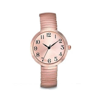 Womens Rose Gold Watch Easy Read Round Rose Gold Dial Rose Gold Stretch Band Watch