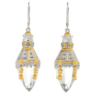 Michael Valitutti Palladium Silver Faceted Cone Rock Crystal and Swiss Blue Topaz Earrings