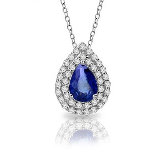 14k White Gold 2/5ct TDW Sapphire and Diamond Pendant