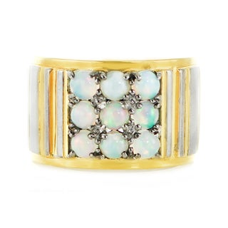 Michael Valitutti Palladium Silve Ethiopian Opal Band Men's Ring