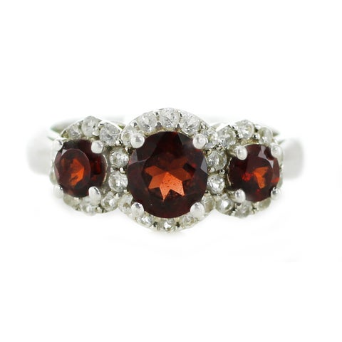 One-of-a-kind Michael Valitutti Sterling Silver Garnet and White Topaz Three-stone Ring