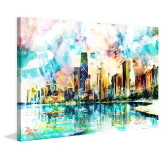Marmont Hill - 'Chicago Skyline' by Ryan Rabbass Painting Print on Wrapped Canvas
