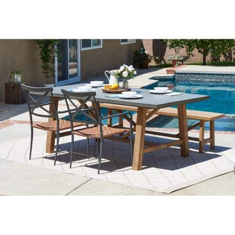 Amalfi Grey 4-piece Cement Tabletop Outdoor Dining Set