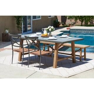 Amalfi Grey 4-piece Cement Tabletop Outdoor Dining Set