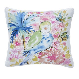 Dena Home Chinoiserie Garden Square Tropical Bird Decorative Throw Pillow