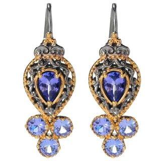 One-of-a-kind Michael Valitutti Palladium Silver Pear Tanzanite Louvre Earrings