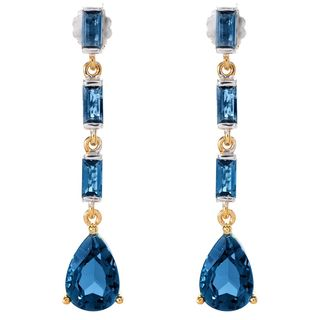 Michael Valitutti Palladium Silver Baguette and Pear London Blue Topaz Earrings