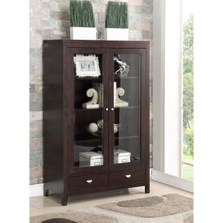 Abbyson Clarkston Espresso Rubberwood and Glass Bookcase