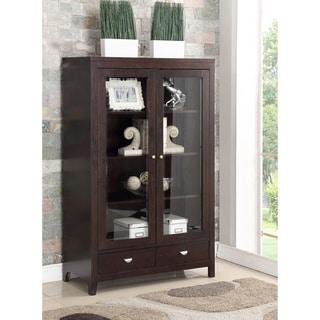 ABBYSON LIVING Clarkston Espresso Rubberwood and Glass Bookcase