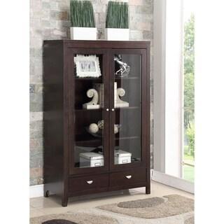 Abbyson Clarkston Espresso Rubberwood And Glass Bookcase