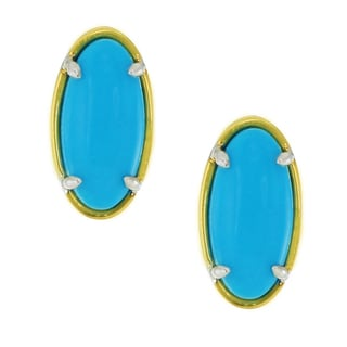 One-of-a-kind Michael Valitutti Palladium Silver Elongated Sleeping Beauty Turquoise Stud Earrings