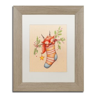 Jennifer Nilsson 'Merry Christmas Little Fox' Matted Framed Art