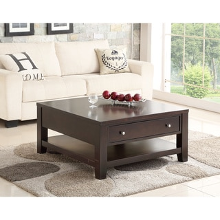 Abbyson Clarkston Espresso Rubberwood Square Coffee Table
