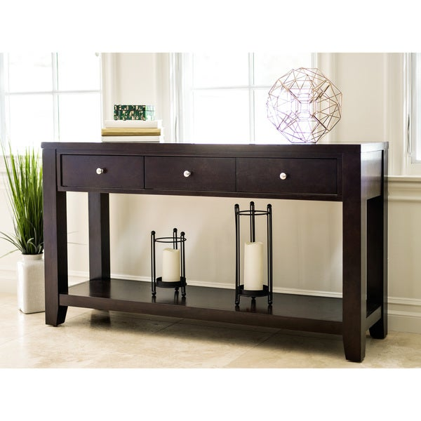 Abbyson Clarkston Espresso Rubberwood Console Sofa Table