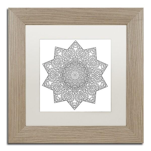 Kathy G. Ahrens 'Shining Mandala' Matted Framed Art - Grey