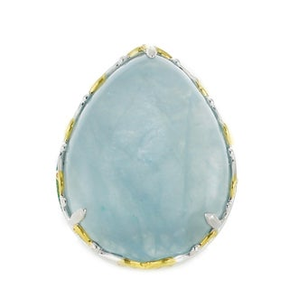 One-of-a-kind Michael Valitutti Palladium Silver Pearshaped Milky Aquamarine Ring
